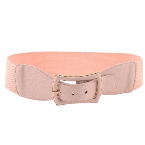 Pink Faux Leather Single Pin Buckle Cinch Waistband Waist Belt 6CM Wide for Ladies