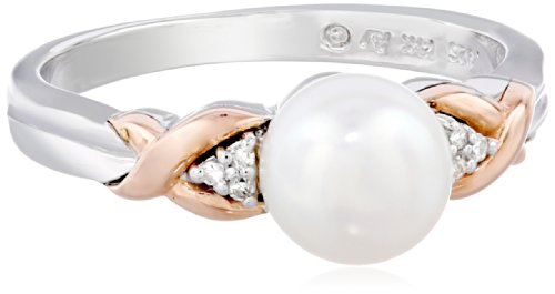 S&G Sterling Silver and 14k Rose Gold 7mm Freshwater Cultured Pearl and Diamond Ring, Size 9