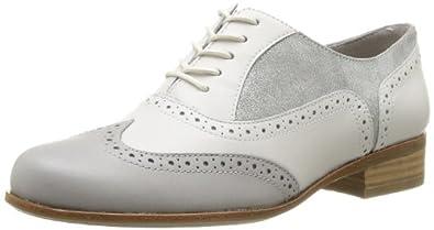 Clarks Hamble Oak 203589334 Damen Schnürhalbschuhe, Weiß (White Combi Lea), EU 34
