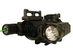 4x32 Fiber Optic Scope with Green Laser Led Flashlight Combo