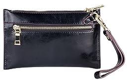 Women\'s Genuine Leather Wristlet Clutch (Black Licorice)