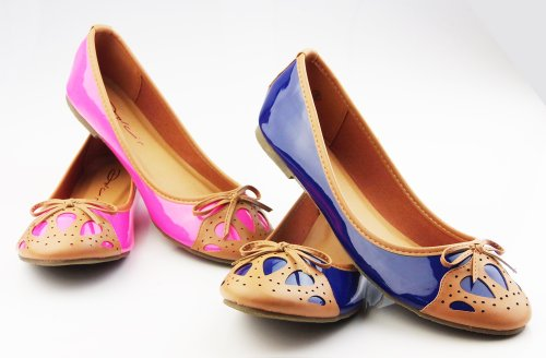 New Ladies DOLCIS Blue Pink Shiny Brogue Style Ballerina Flats Dolly Shoes Ballerinas Sz 3 4 5 6 7 8