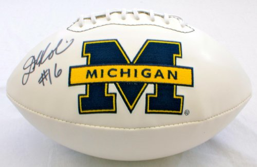 Signed Denard Robinson Michigan Wolverines Logo Football - Autographed College Footballs