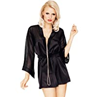 Mio Sexy Sheer Glamour Black Robe and Thong Set Large/X-Large