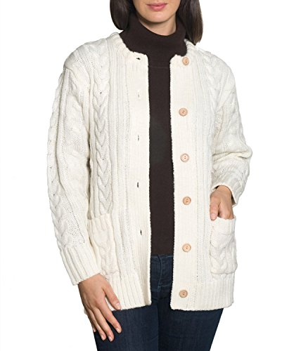 Wool Overs Womens Aran Cardigan Cream Small (Wool Overs British Wool compare prices)