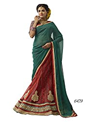 Melluha Red Nett Lehenga,Brocket Inner with Chiffon Dupatta