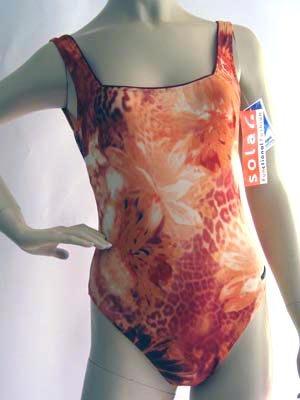 SOLAR orange-bord. Badeanzug Gr. 38 Bügel NEU