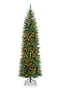 #!Cheap National Tree 7 1/2' Kingswood Fir Pencil Tree, Hinged, 350 Multi-Colored Lights (KW7-313-75)
