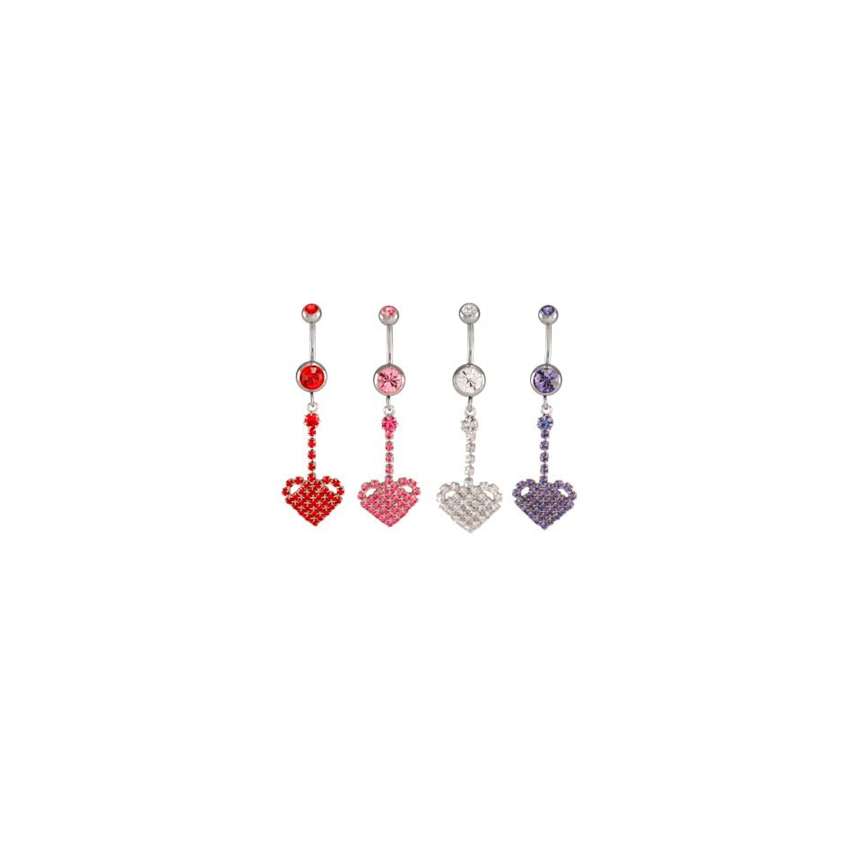 Clear Jeweled Heart Dangles Belly Ring   14g (1.6mm), 3/8 (10mm) Length   Sold Individually