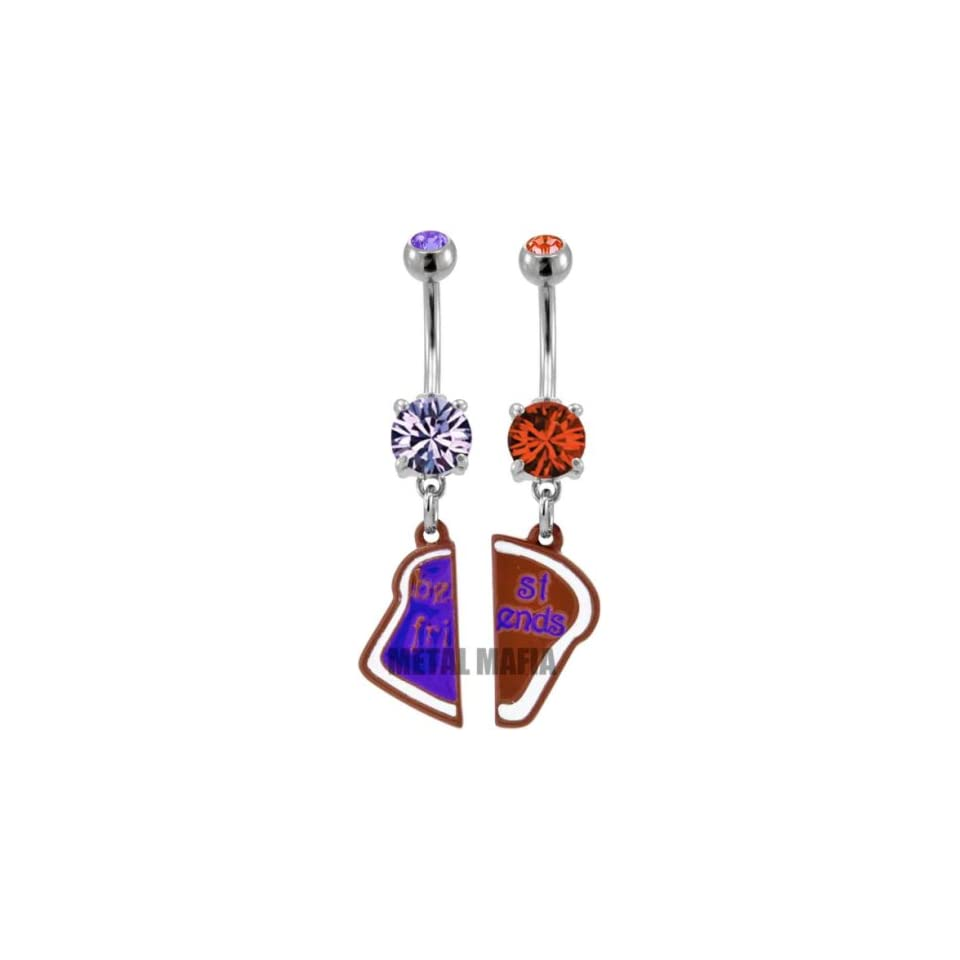 Pair of Best Friend Heart Charm Pendent Tanzanite Cubic Zirconia Belly Ring   14G   3/8 Bar Length   Sold as a Set of 2 Belly Rings