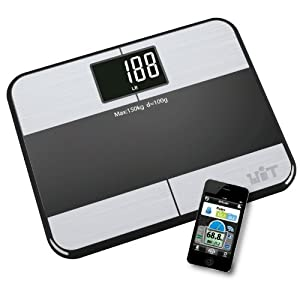 WiTscale S1 Bluetooth Digital Bathroom Scale w/ Large Backlit Display and Step-On Technology for iPhone5S, iPhone5C, iPad mini