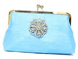 Plumes and Pearls Womens French Riviera Clutch (Blue)