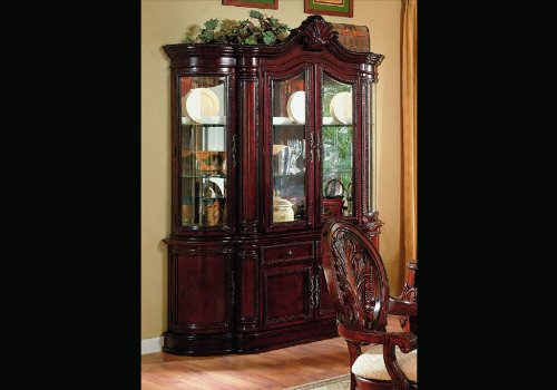 Cherry Finish Lighted Dining Room China Cabinet Buffet