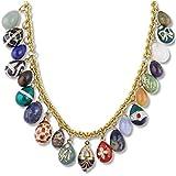 90 cttw Gold Finish Lapis Aquartz Crystal Enamel Russian Faberge Egg Pendant Necklace, Museum Jewelry