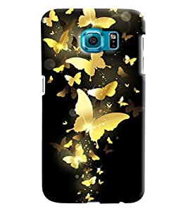 Blue Throat Gold Butterfly Printed Designer Back Cover/ Case For Samsung Galaxy S6
