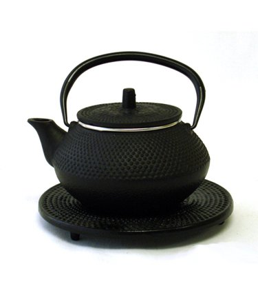 Moda Black Cast Iron Teapot With Trivet By Moda - 17.5 oz