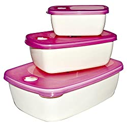 Oliveware Plastic Unique Container, Set of 3 Pieces, White & Pink