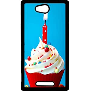 Casotec Birthday Candle Print Design Hard Back Case Cover for Sony Xperia C