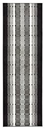 Custom Runner Squares Geometric Roll Runner 26 Inch Wide x Your Length Size Choice Slip Skid Resistant Rubber Back 2 Color Options Euro Collection (Grey, 6 ft x 26 in)