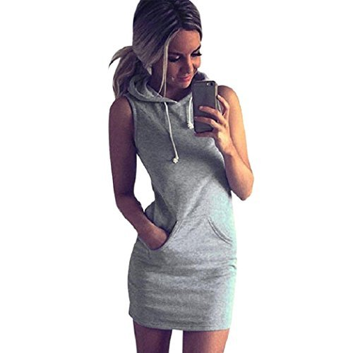 Huiyuzhi Fashion Womens Summer Casual Sleeveless Hoody Dress (Grey, S)
