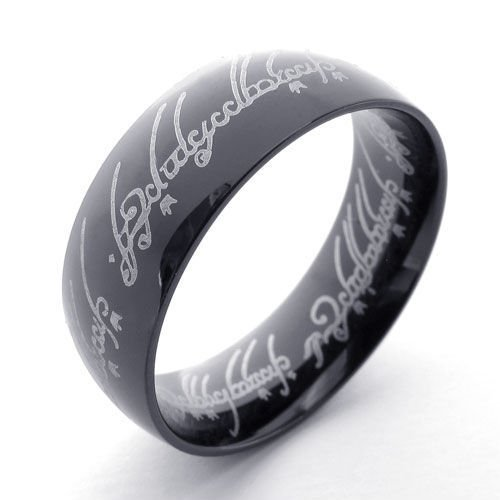 (キチシュウ)Aooazジュエリー メンズステンレスリング指輪 梵字パターン ブラック 高品質のアクセサリー 日本サイズ17号(USサイズ8号)