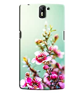 Blue Throat Pink Flower Inspired Hard Plastic Printed Back Cover/Case For OnePlus One