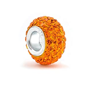 Bling Jewelry 925 Sterling Silver Orange Swarovski Crystal Pandora Compatible Bead