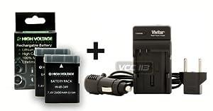 2600mAh Battery (2-Pack) and Charger for Nikon EN-EL14 compatible with Nikon Coolpix P7000, P7100, P7700, D3100, D3200, D5100, D5200