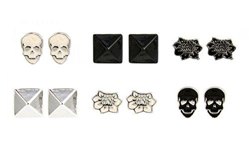 loungefly-skull-fleur-pyramide-boucles-doreilles-lot-de-6