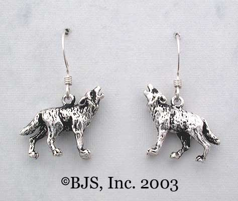 Wolf Earrings, Sterling Silver, Sterling Silver Ear Wires, Wolves Jewelry