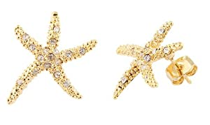 JOTW 2 Pairs of Goldtone with Clear Iced Out Large Starfish Stud Earrings