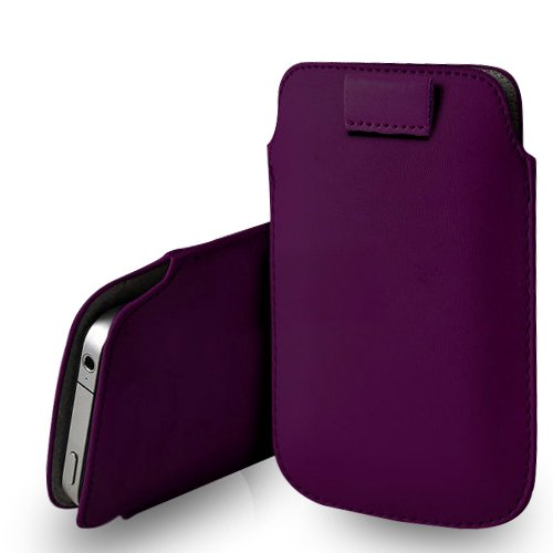 Nokia Lumia 520 Leather Pull Tab Case Cover Pouch   Cleaning Cloth (Dark Purple) Picture