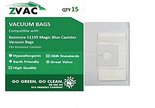 Kenmore 51195 Magic Blue Canister Vacuum Bags - 15 Bags By ZVac (Vacuum Bags Magic Blue compare prices)