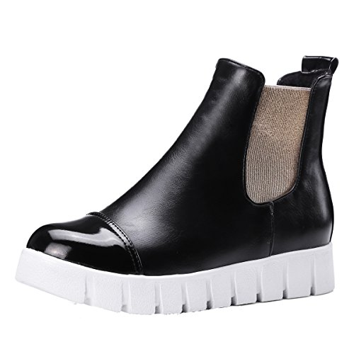 Da donna dipinto piattaforma Martin stivali casual elastico slip-on caviglia Booties, rosso (Black), 39 1/3