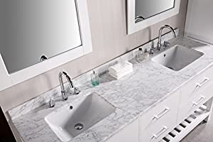 Design Element DEC077B-W London 72-Inch Double Sink Vanity Set in Pearl White by Design Element - Dropship