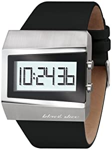 Black Dice Men's Chill BD-057-01 Black Leather Quartz Watch with Digital Dial