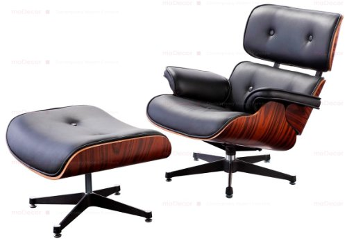 moDecor - Eames Lounge Chair und Ottomane in Schwarz mit Rosenholz (Reproduktion)