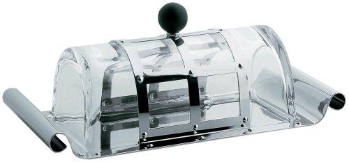 A di Alessi MGBUT Beurrier en acier inoxydable 18/10 avec couvercle en cristal et pommeau en PA - Noir