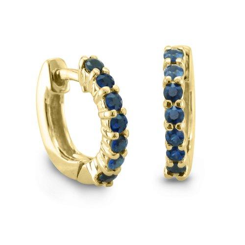 7 Stone Sapphire Hoop Earrings Gemstone Earrings