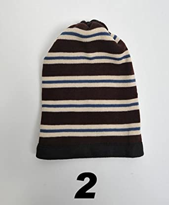 Women's Black And Blue Striped 2-in-1 Head and Neck Warmer LS1010