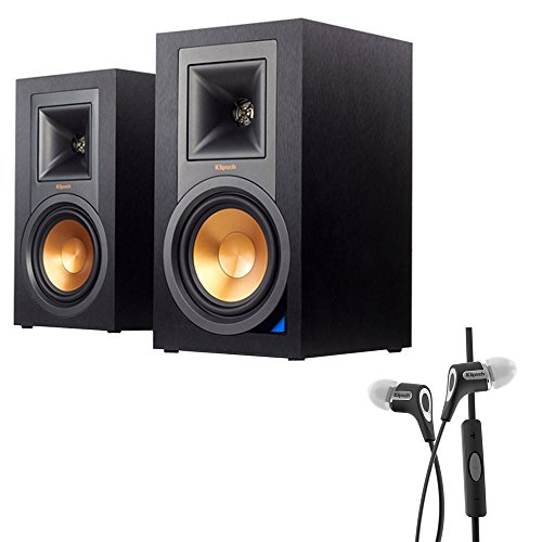 Klipsch Powered Monitor Speakers with Bluetooth (Pair) (R-15PM) with Klipsch R6i Headphone w/ iOS Inline Mic & Controls iPod/iPhone/iPad (Black)
