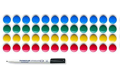 magnetic-board-set-pack-of-48-zeller-coloured-magnets-staedtler-316-lumocolor-marker-for-whiteboard-
