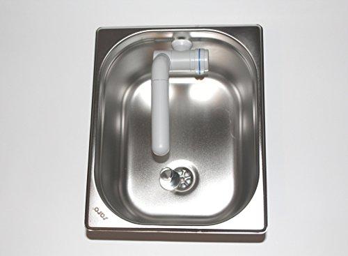 ad-ideen Edelstahl Spülbecken Camping Spüle Waschbecken + Ablauf 325x265x200mm Barwig Grau Wasserhahn integriert (ad-ideen)