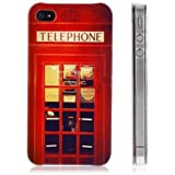 niceEshop(TM) Red Retro London Telephone Booth Pattern Snap On Hard Back Case Cover for iPhone4 4G 4S +Screen Protector