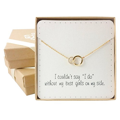 Bridesmaid Gifts- Delicate Infinity Interlocking Circles Necklace (15