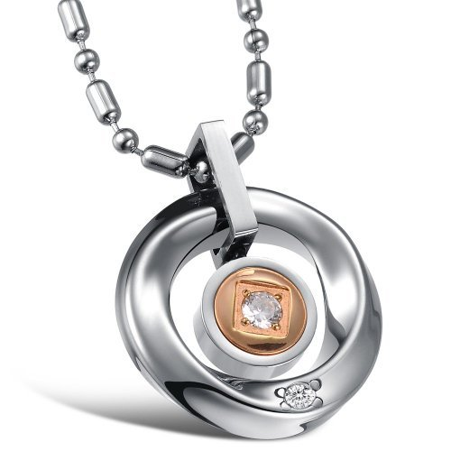 JBG Jewellery Necklaces Charms Stainless Steel Neckwear Chains Cubic Zirconia Inlaid Circular Pendants Necklets in a Gift Box For Women
