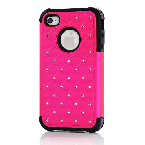 Review:  Meaci® Iphone 4 4s Hot Pink&black Case Glitter Studded Diamond Dual Layer Protective Case 1x Diamond Anti-dust Plug Stopper(random Color)