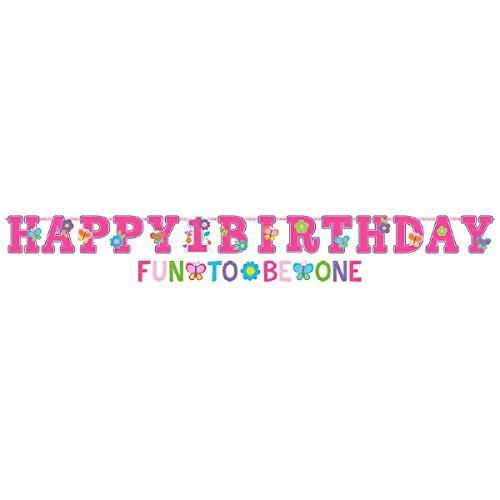 Amscan Sweet Birthday Girl 1st Birthday Jumbo Letter Birthday Banner Kit, Large, Pink/Turquoise/Green