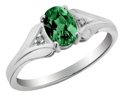 Created Emerald Ring with Diamonds 3/4 Carat (ctw) in 10K White Gold