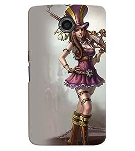 Printvisa Warrior Girl Winking Back Case Cover for Motorola Google Nexus 6